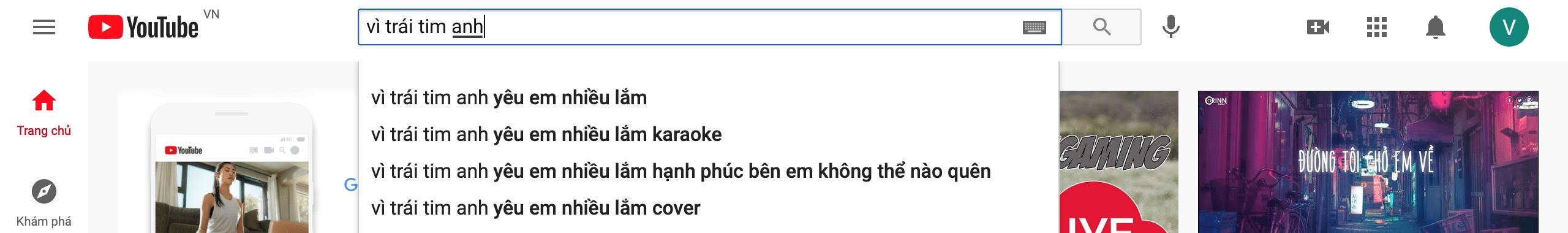 Tìm kiếm nhạc trên youtube