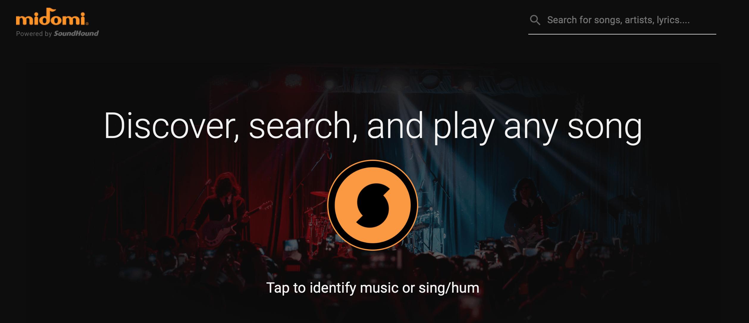 tìm kiếm bài hát qua website midomi