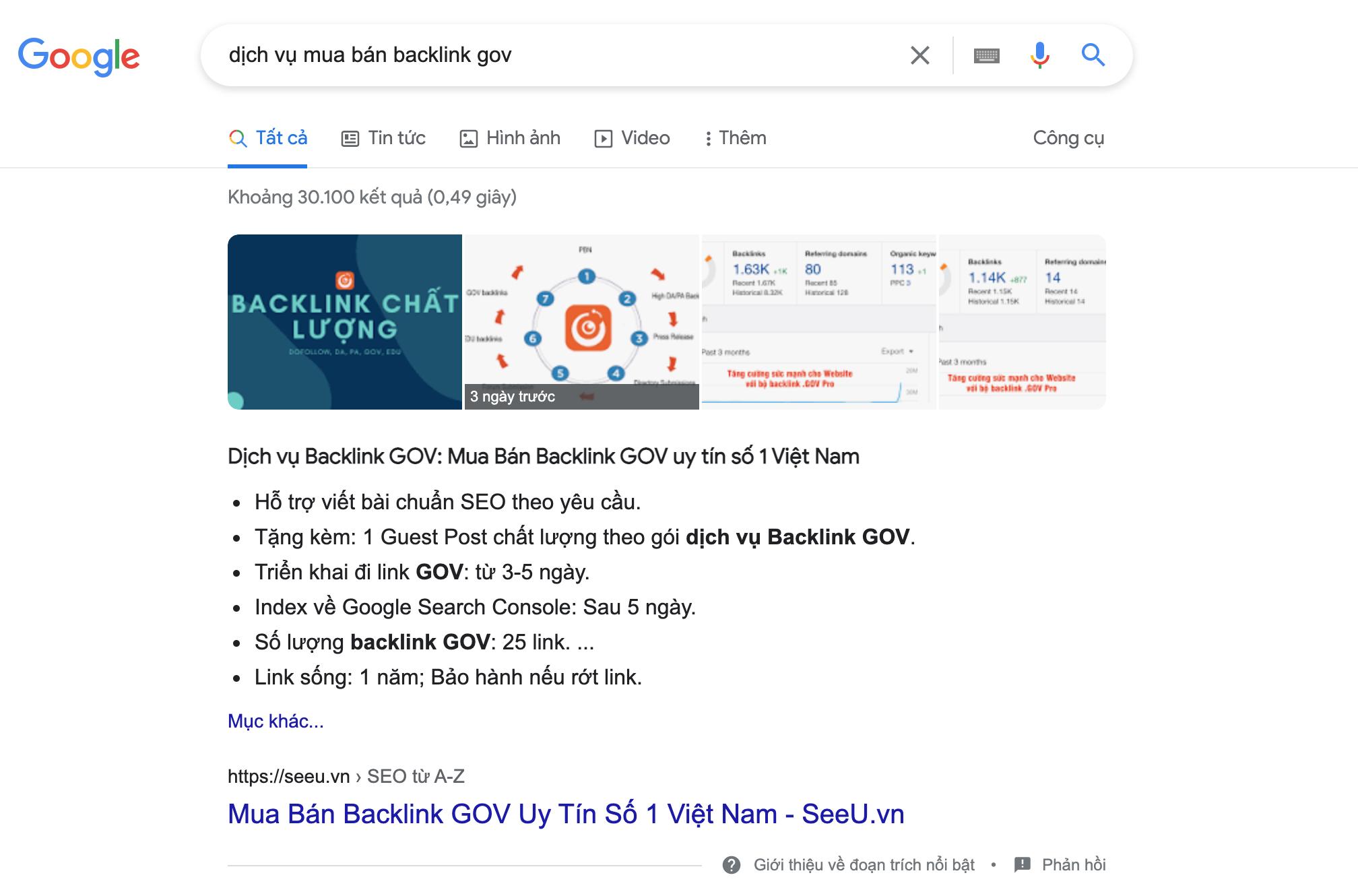 Dịch vụ backlink GOV số 1 tại SeeU
