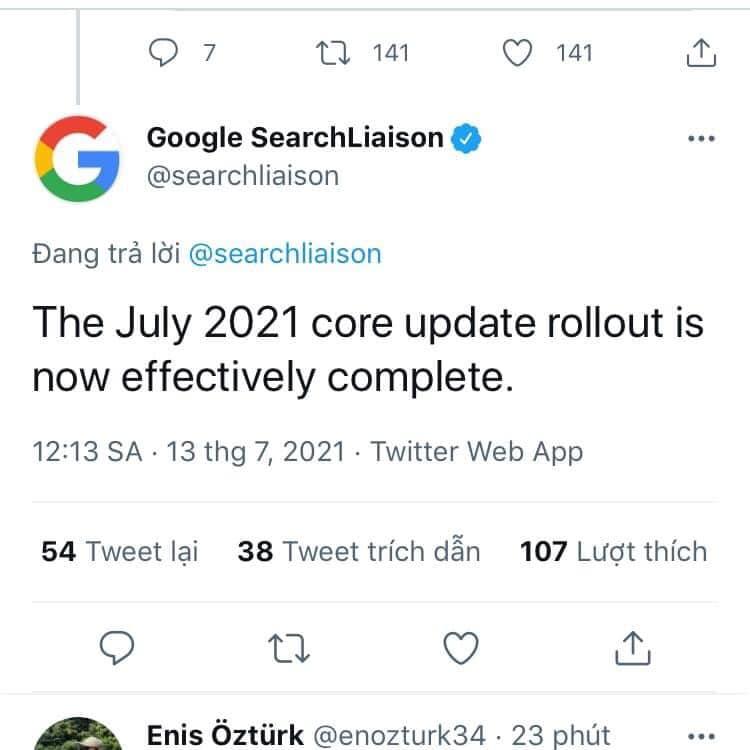 Update Google trong SEO