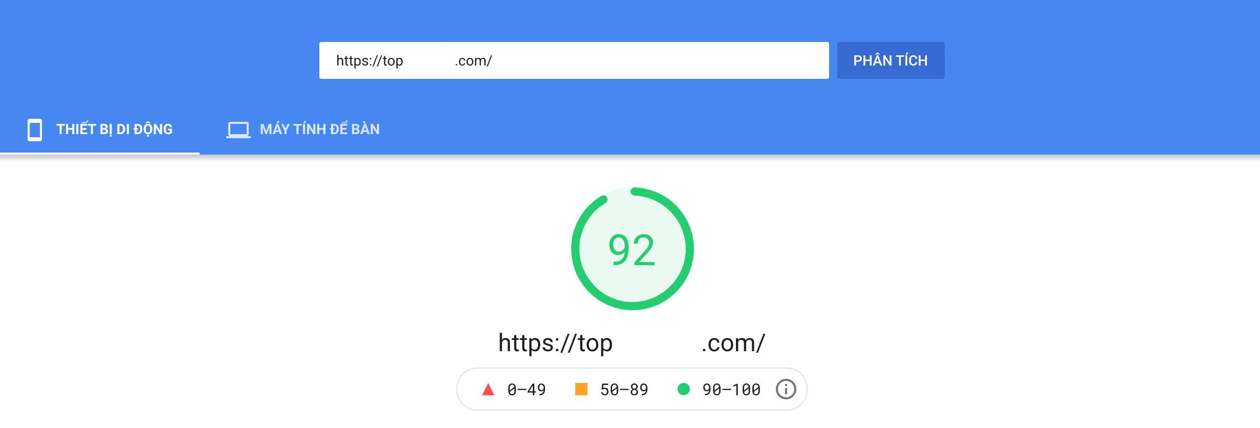 Dịch vụ tối ưu tốc độ website (Google PageSpeed Insights) của SeeU.vn cam kết 100% đạt kết quả tốt từ 90 ~ 100.